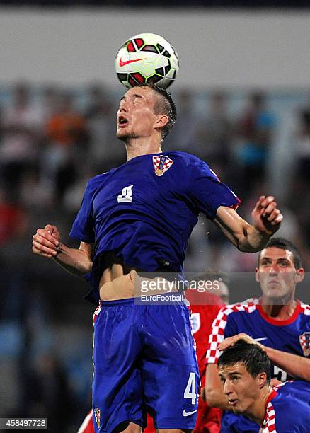 Filip Bradaric of Croatia in action during the UEFA U21 Championship Playoff Second Leg match between Croatia and England at the Stadion Hnk Cibalia...