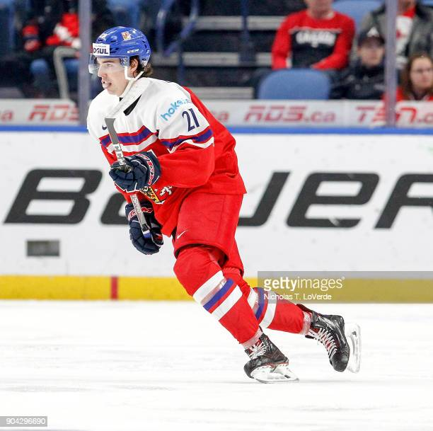 Filip Chytil of Czech Republic skates against Finland during the first period of play in the IIHF World Junior Championships Quarterfinal game at the...