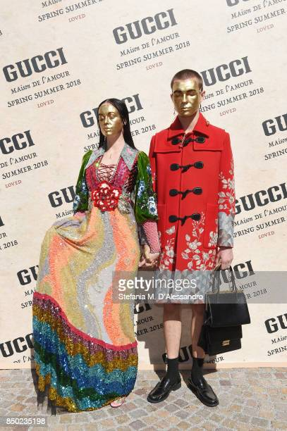 Filip Custic and Maria Forque arrive at the Gucci show during Milan Fashion Week Spring/Summer 2018 on September 20, 2017 in Milan, Italy.