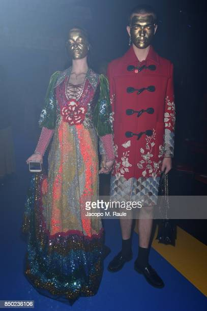 Filip Custic and Maria Forque attends the Gucci show during Milan Fashion Week Spring/Summer 2018 on September 20 2017 in Milan Italy
