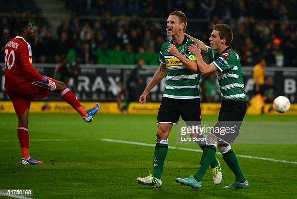 Filip Daems of Moenchengladbach celebrates after scoring his teams first goal during the UEFA Europa League group C match between Borussia...