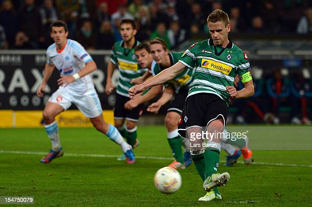 Filip Daems of Moenchengladbach scores his teams first goal from the penalty spotduring the UEFA Europa League group C match between Borussia...