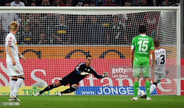 Filip Daems of Moenchengladbach scores his teams second goal from the penalty spot during the Bundesliga match between Borussia Moenchengladbach and...