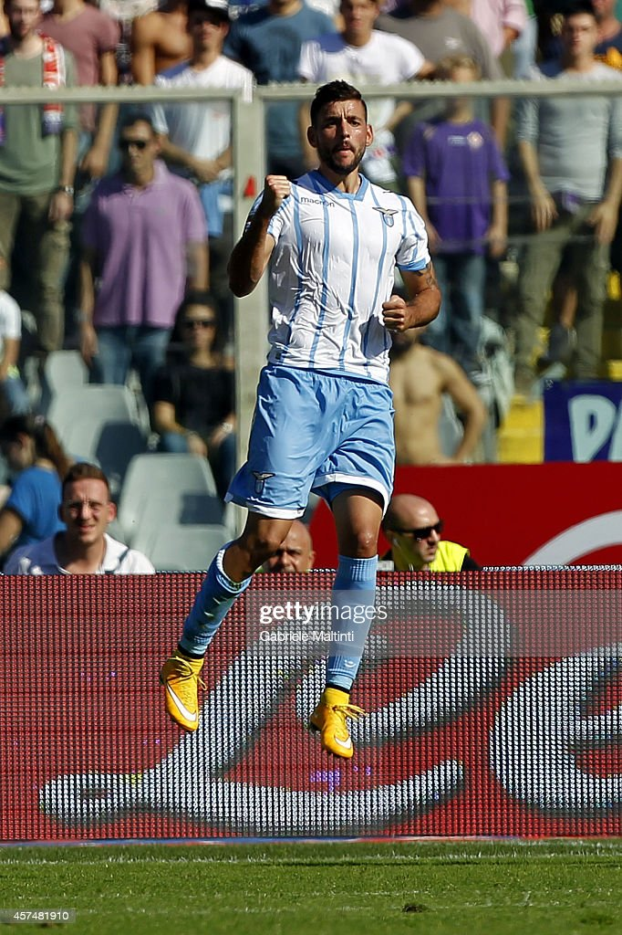 Filip Djordjevic of SS Lazio celebrates after scoring a goal during the Serie A match between ACF Fiorentina and SS Lazio at Stadio Artemio Franchi on October 19, 2014 in Florence, Italy.