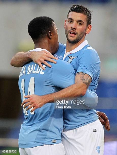 Filip Djordjevic with his teammate Balde Diao Keita of SS Lazio celebrates after scoring the second team's goal during the TIM Cup match between SS...