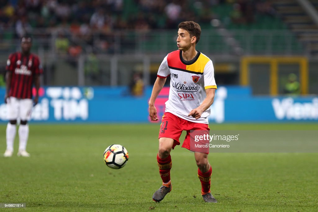 Filip Djuricic of Benevento Calcio in action during the Serie A football match between AC Milan and Benevento Calcio . Benevento Calcio wins 1-0 over Ac Milan.