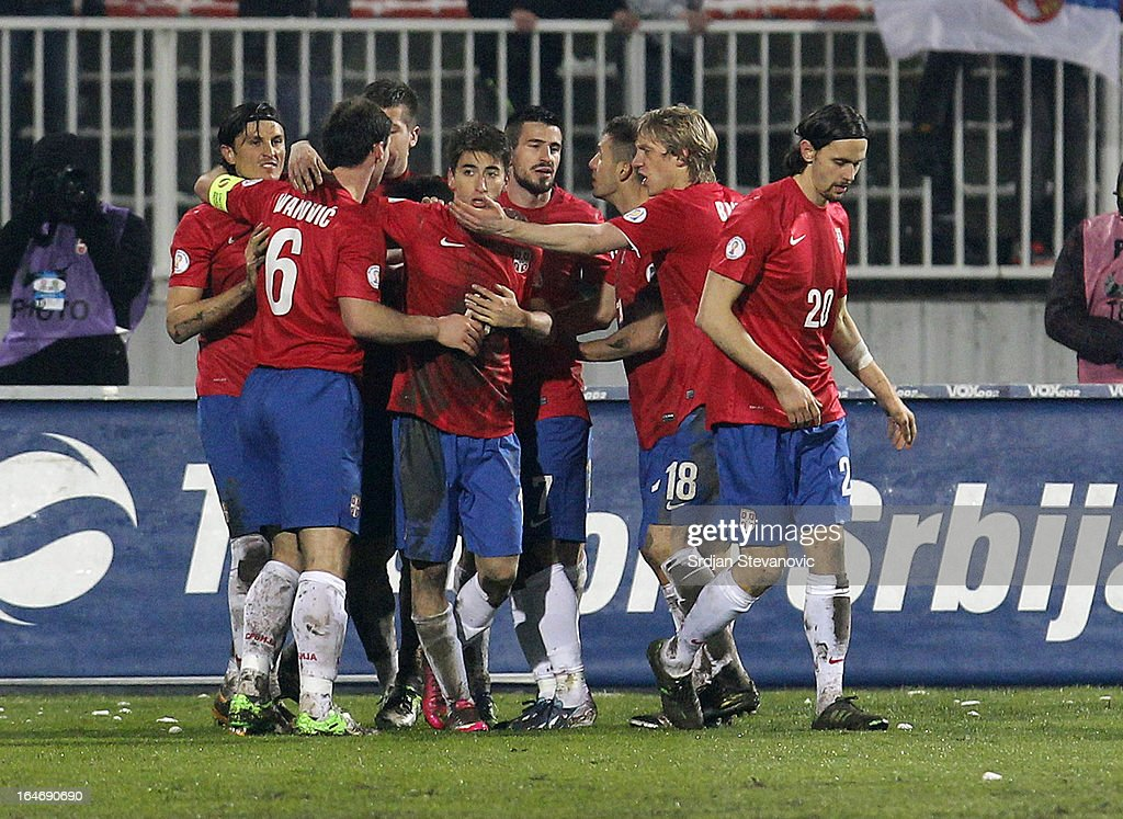 Filip Djuricic (C) of Serbia with his team-mates after scoring during the FIFA 2014 World Cup Qualifier match between Serbia and Scotland at Karadjordje Stadium on March 26, 2013 in Novi Sad, Serbia
