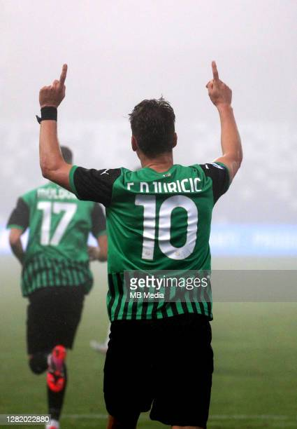 Filip Djuricic of US Sassuolo celebrates after scoring his goal during the Serie A match between US Sassuolo and Torino FC at Mapei Stadium Città del...