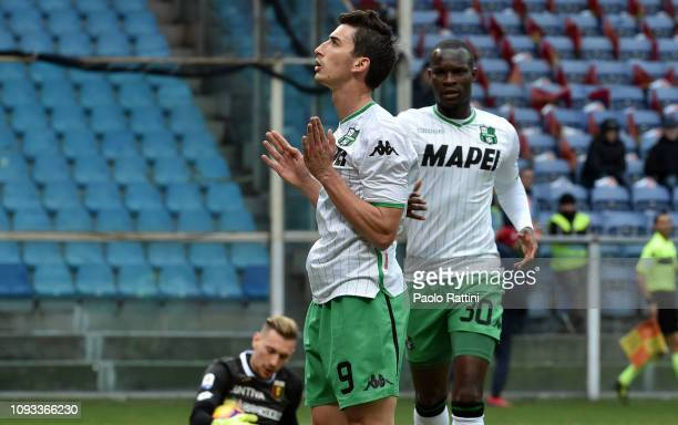 Filip Djuricic of US Sassuolo celebrates after scoring the first goal during the Serie A match between Genoa CFC and US Sassuolo at Stadio Luigi...