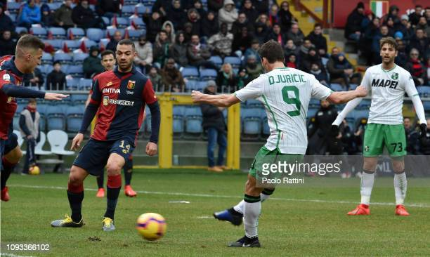 Filip Djuricic of US Sassuolo scores the first goal during the Serie A match between Genoa CFC and US Sassuolo at Stadio Luigi Ferraris on February...