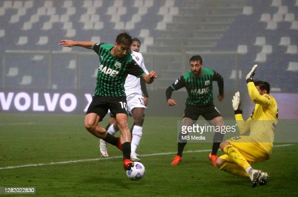 Filip Djuricic of US Sassuolo scoring his goal during the Serie A match between US Sassuolo and Torino FC at Mapei Stadium Città del Tricolore on...