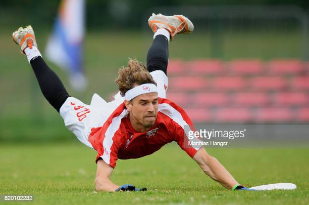 Filip Dobranowski of Poland catches the frisbee during the Ultimate Mixed Flying Disc Qualification match between Canada and Poland of The World...