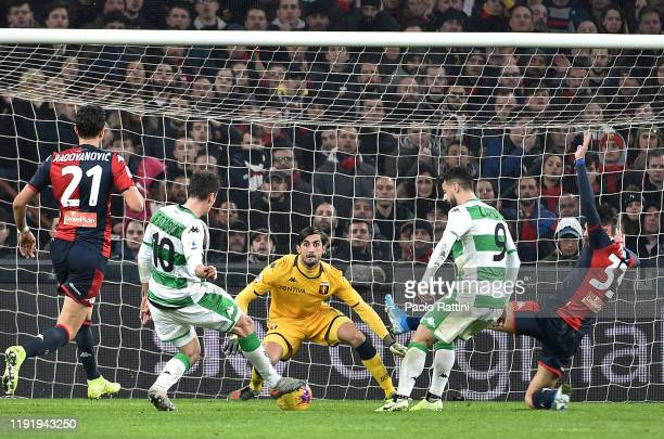 Filip Duricic of US Sassuolo scores a goal which was later disallowed by VAR during the Serie A match between Genoa CFC and US Sassuolo at Stadio...