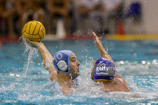 Filip Filipovic of Pro Recco and Felipe Perrone of Barceloneta during the Champions League water polo match between Pro Recco and Barceloneta on...