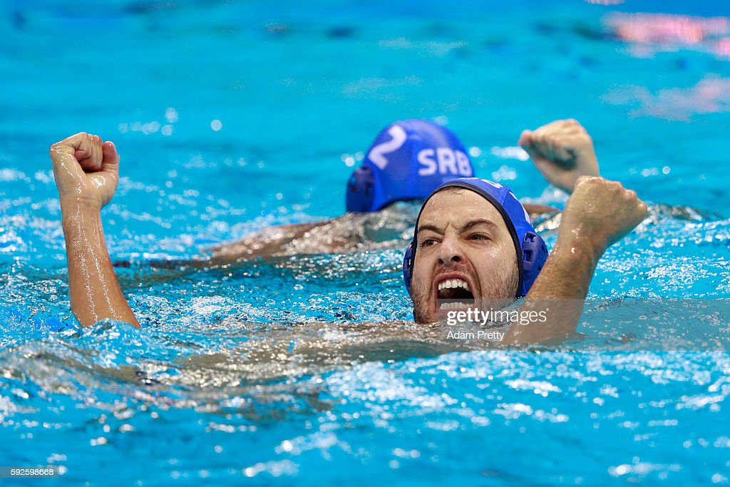 Filip Filipovic #10 of Serbia celebrates a goal during the Men's Water Polo Gold Medal match between Croatia and Serbia on Day 15 of the Rio 2016 Olympic Games at the Olympic Aquatics Stadium on August 20, 2016 in Rio de Janeiro, Brazil.