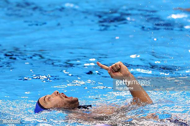 Filip Filipovic of Serbia celebrates a goal during the Men's Water Polo Gold Medal match between Croatia and Serbia on Day 15 of the Rio 2016 Olympic...