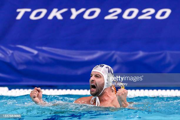 Filip Filipovic of Serbia during the Tokyo 2020 Olympic Waterpolo Tournament men's Semi Final match between Serbia and Spain at Tatsumi Waterpolo...