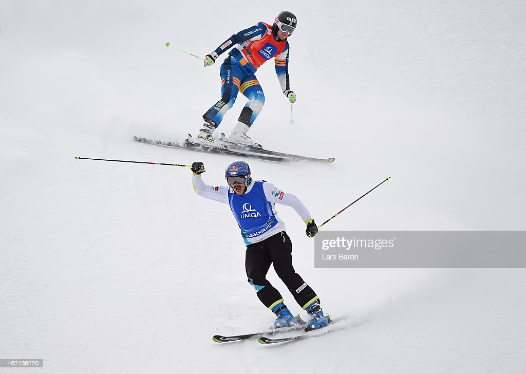 Filip Flisar (Bottom) of Slovenia celebrates winning gold in the Big Final of the Men's Ski Cross Finals during the FIS Freestyle Ski and Snowboard World Championships 2015 on January 25, 2015 in Kreischberg, Austria.