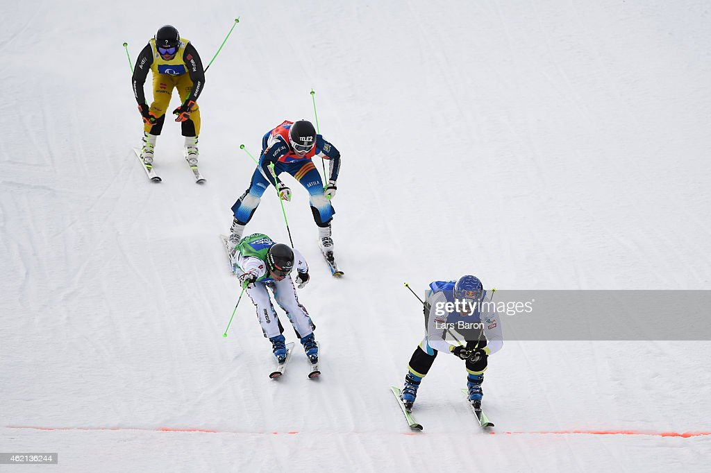 Filip Flisar (R) of Slovenia crosses the finish line to win the gold in the Big Final of the Men's Ski Cross Finals during the FIS Freestyle Ski and Snowboard World Championships 2015 on January 25, 2015 in Kreischberg, Austria.