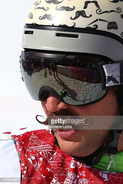 Filip Flisar of Slovenia looks on during the Freestyle Skiing Men's Ski Cross 1/8 Finals on day 13 of the 2014 Sochi Winter Olympic at Rosa Khutor...