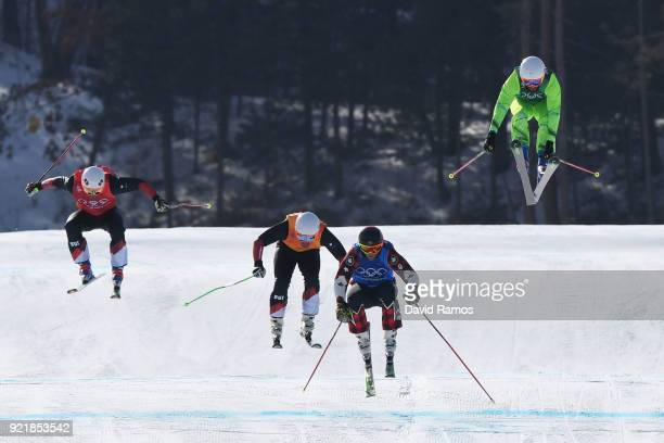 Filip Flisar of Slovenia Marc Bischofberger of Switzerland and Brady Leman of Canada and Armin Niederer of Switzerland compete in the Freestyle...