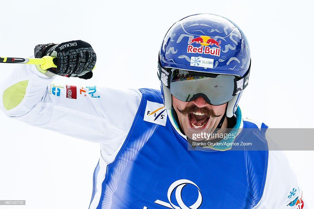 Filip Flisar of Slovenia takes 1st place during the FIS Freestyle Ski World Championships Men's and Women's Ski Cross on January 25, 2015 in Kreischberg, Austria.