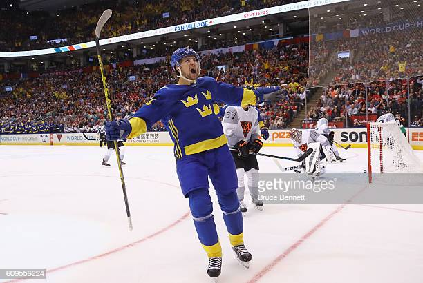 Filip Forsberg of Team Sweden celebrtaes his first period goal against Team North America at the World Cup of Hockey tournament at the Air Canada...
