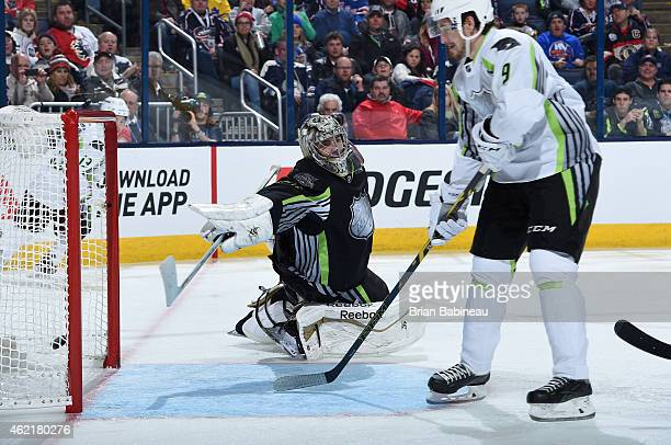 Filip Forsberg of the Nashville Predators and Team Toews scores against goaltender Marc AndreFleury of the Pittsburgh Penguins and Team Foligno in...
