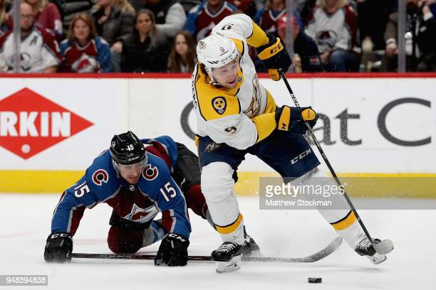 Filip Forsberg of the Nashville Predators breaks free from Duncan Siemans of the Colorado Avalanche in Game Four of the Western Conference First...