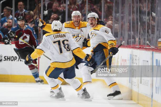 Filip Forsberg of the Nashville Predators celebrates a goal against the Colorado Avalanche in Game Four of the Western Conference First Round during...