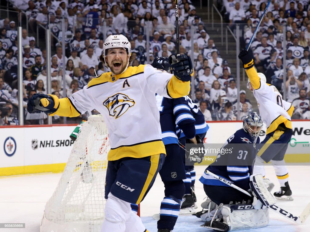 Filip Forsberg #9 of the Nashville Predators celebrates after scoring a third period goal against the Winnipeg Jets in Game Six of the Western Conference Second Round during the 2018 NHL Stanley Cup Playoffs at the Bell MTS Place on May 7, 2018 in Winnipeg, Manitoba, Canada.
