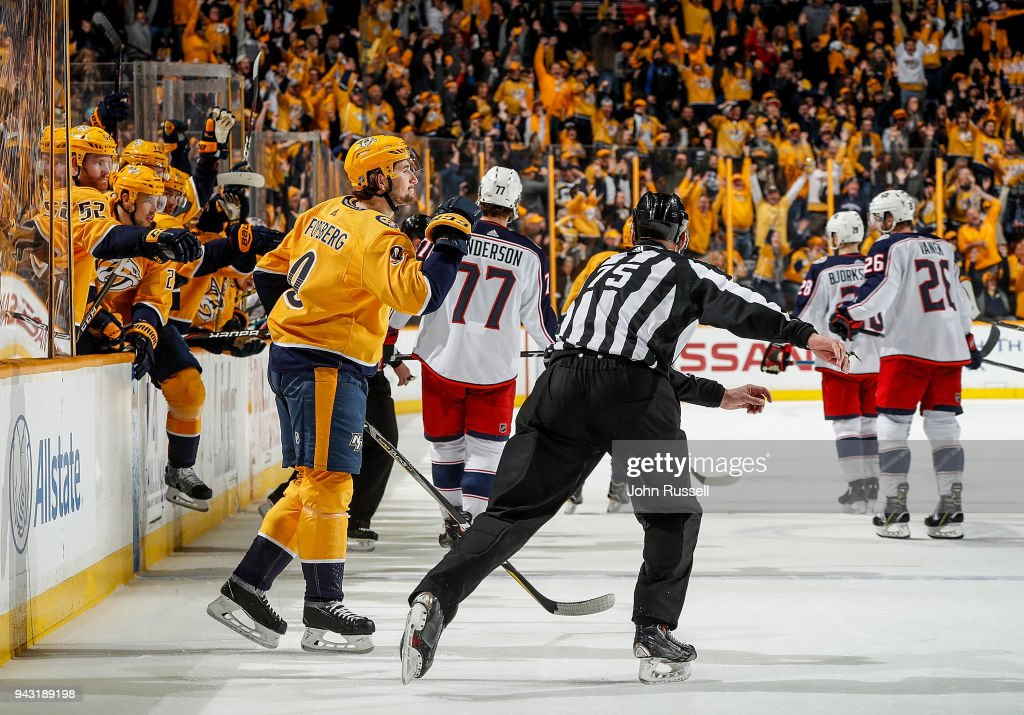 Filip Forsberg #9 of the Nashville Predators celebrates his empty net hat trick goal against the Columbus Blue Jackets during an NHL game at Bridgestone Arena on April 7, 2018 in Nashville, Tennessee.