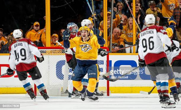 Filip Forsberg of the Nashville Predators celebrates his goal against Jonathan Bernier of the Colorado Avalanche in Game One of the Western...