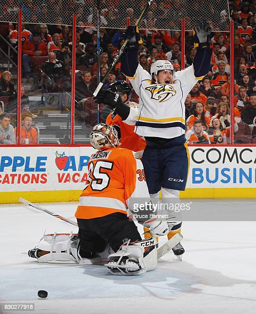 Filip Forsberg of the Nashville Predators celebrates his goal at 1146 of the third period against Steve Mason of the Philadelphia Flyers at the Wells...