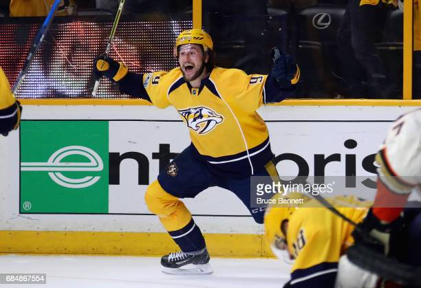 Filip Forsberg of the Nashville Predators celebrates scoring a goal during the third period against the Anaheim Ducks to tie the game 22 in Game Four...