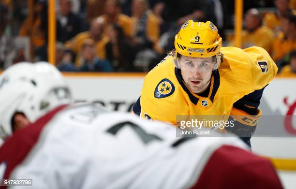 Filip Forsberg of the Nashville Predators eyes a faceoff against the Colorado Avalanche in Game Two of the Western Conference First Round during the...