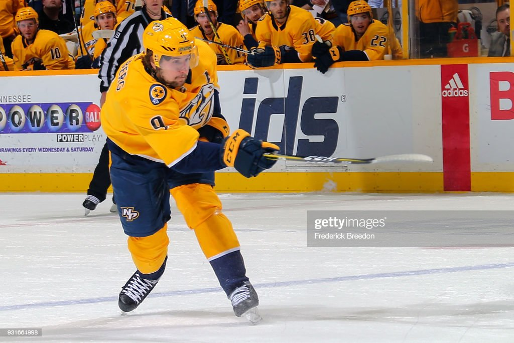 Filip Forsberg #9 of the Nashville Predators fires a shot against the Winnipeg Jets during the first period at Bridgestone Arena on March 13, 2018 in Nashville, Tennessee.