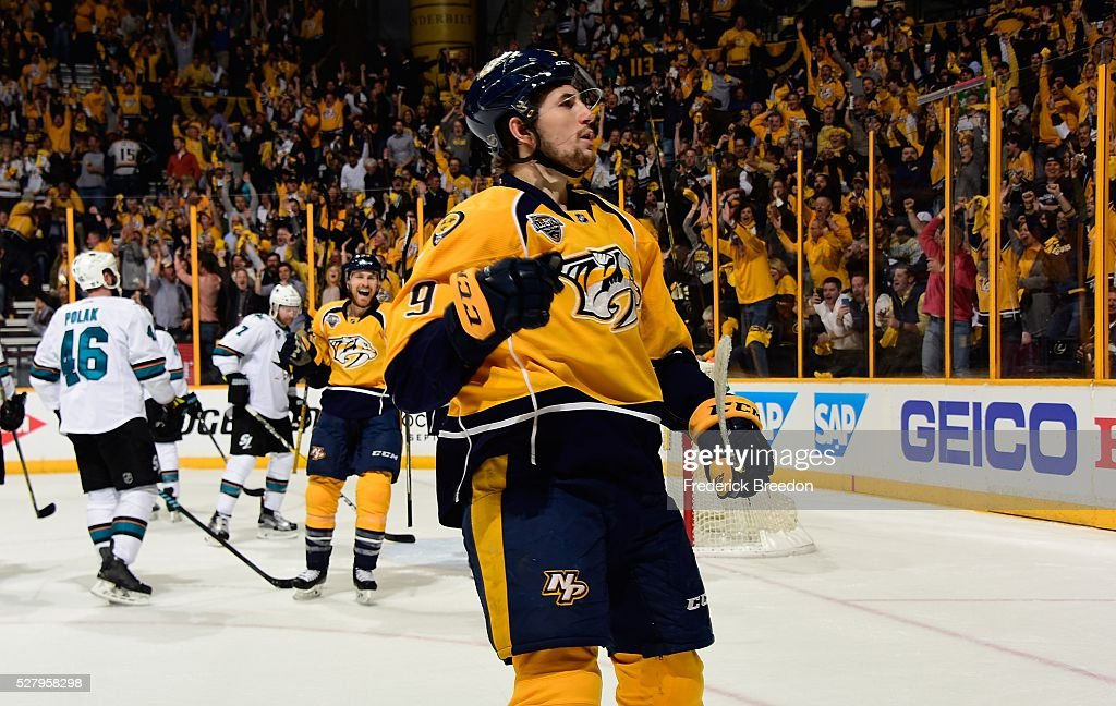 Filip Forsberg #9 of the Nashville Predators reacts after scoring a goal against the San Jose Sharks during the third period of Game Three of the Western Conference Second Round during the 2016 NHL Stanley Cup Playoffs at Bridgestone Arena on May 3, 2016 in Nashville, Tennessee.