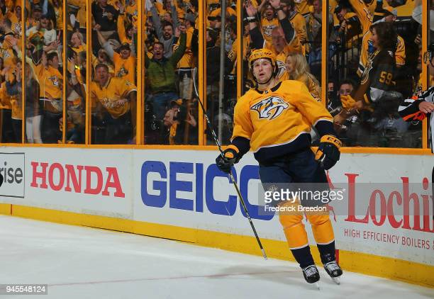 Filip Forsberg of the Nashville Predators reacts after scoring a goal against the Colorado Avalanche during the third period of a 52 Predators...