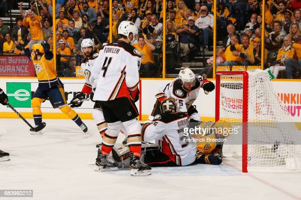 Filip Forsberg of the Nashville Predators scores a goal during the third period against the Anaheim Ducks in Game Three of the Western Conference...