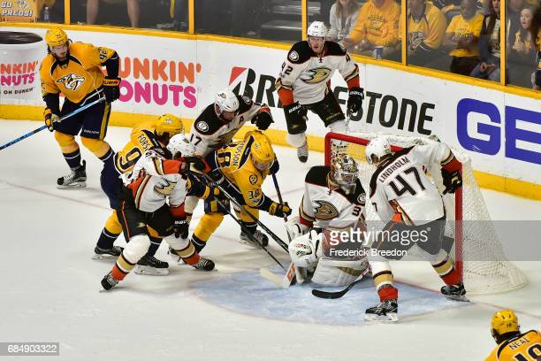 Filip Forsberg of the Nashville Predators scores a goal during the third period against the Anaheim Ducks to tie the game 22 in Game Four of the...