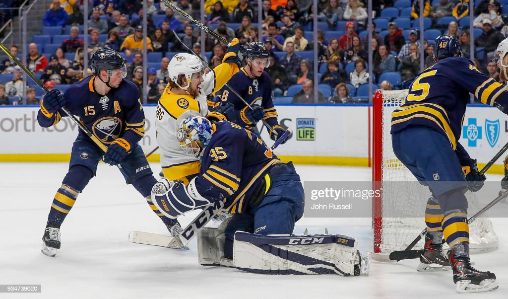 Filip Forsberg #9 of the Nashville Predators scores against Linus Ullmark #35 of the Buffalo Sabres during an NHL game at KeyBank Center on March 19, 2018 in Buffalo, New York.