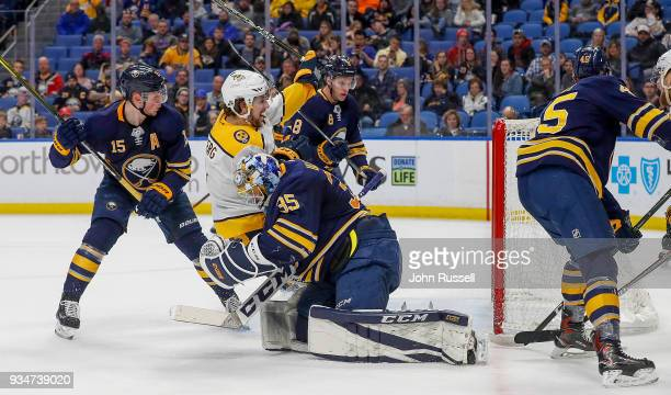 Filip Forsberg of the Nashville Predators scores against Linus Ullmark of the Buffalo Sabres during an NHL game at KeyBank Center on March 19 2018 in...