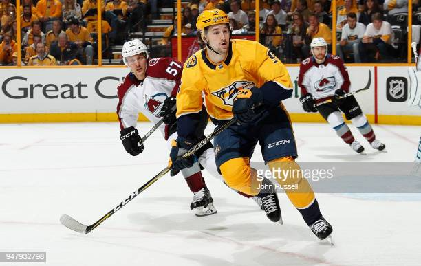 Filip Forsberg of the Nashville Predators skates against Gabriel Bourque of the Colorado Avalanche in Game Two of the Western Conference First Round...