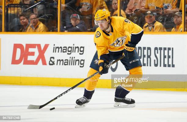 Filip Forsberg of the Nashville Predators skates against the Colorado Avalanche in Game One of the Western Conference First Round during the 2018 NHL...