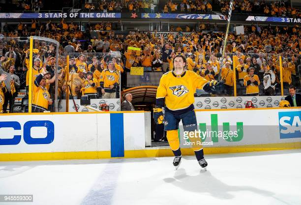Filip Forsberg of the Nashville Predators skates as First Star of the Game in a 52 win against the Colorado Avalanche in Game One of the Western...