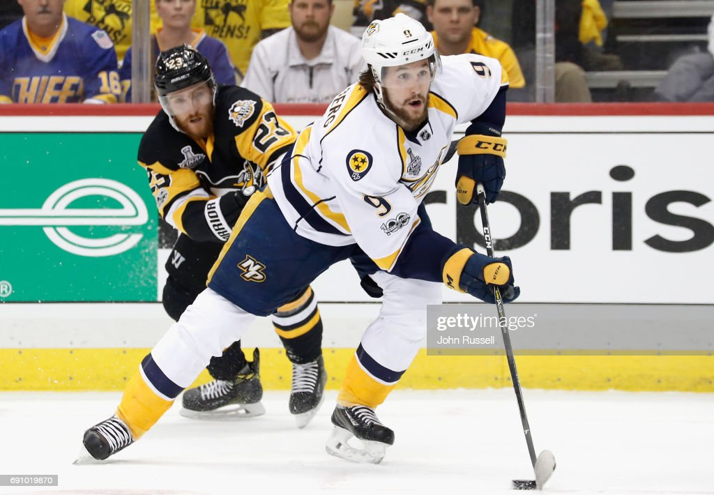 Filip Forsberg #9 of the Nashville Predators skates away from Scott Wilson #23 of the Pittsburgh Penguins during the first period of Game Two of the 2017 NHL Stanley Cup Final at PPG Paints Arena on May 31, 2017 in Pittsburgh, Pennslyvannia.