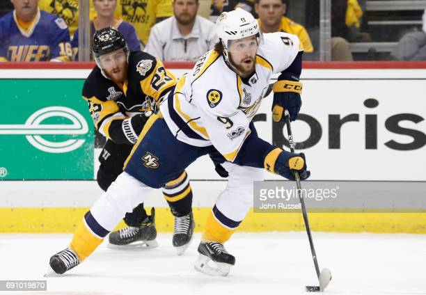 Filip Forsberg of the Nashville Predators skates away from Scott Wilson of the Pittsburgh Penguins during the first period of Game Two of the 2017...