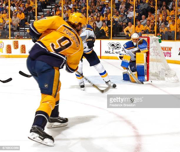 Filip Forsberg of the Nashville Predators takes a shot against goalie Jake Allen of the St Louis Blues during the first period of Game Four of the...