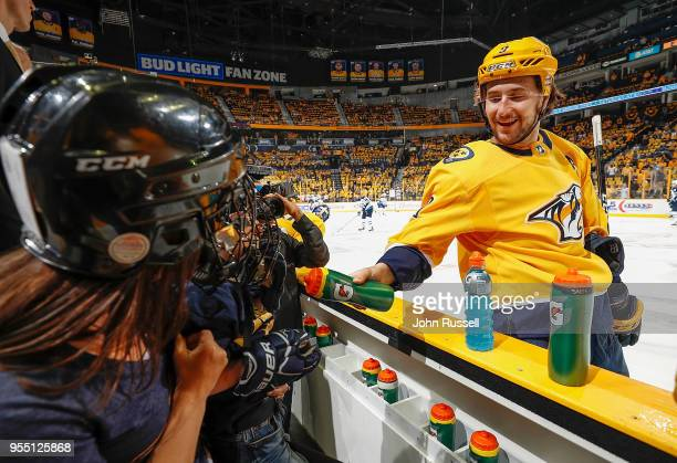 Juuse Saros of the Nashville Predators tends net against the Winnipeg Jets in Game Five of the Western Conference Second Round during the 2018 NHL...